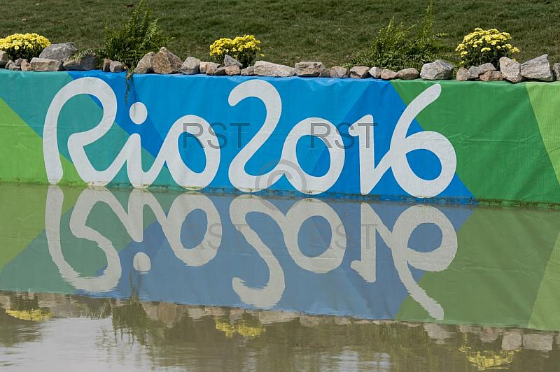 BRA, Olympia 2016 Rio, Feature Schild Rio mit Spiegelbild